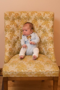 Strong enough to sit all by himself (no boppy)!